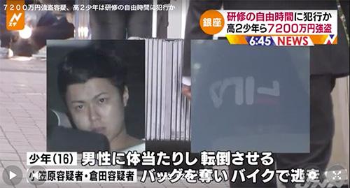 銀座強盗事件の小笠原興人容疑者と倉田祐太容疑者